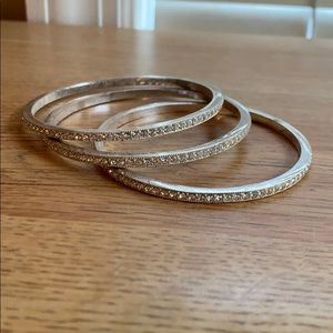 3 silver bangle set with crystals